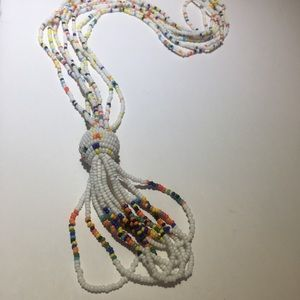 Vintage white & colorful beaded Tassel necklace
